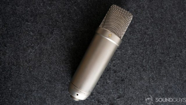 Top-down picture of Rode NT1-A on a desk.