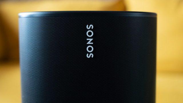 Close-up of the white Sonos logo on the black speaker