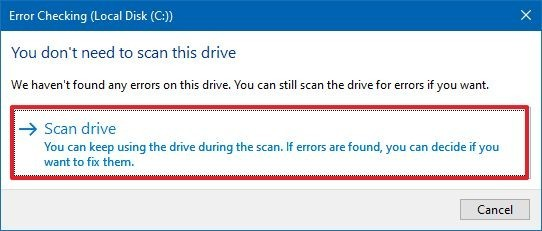 Windows 10 scan drive for errors option