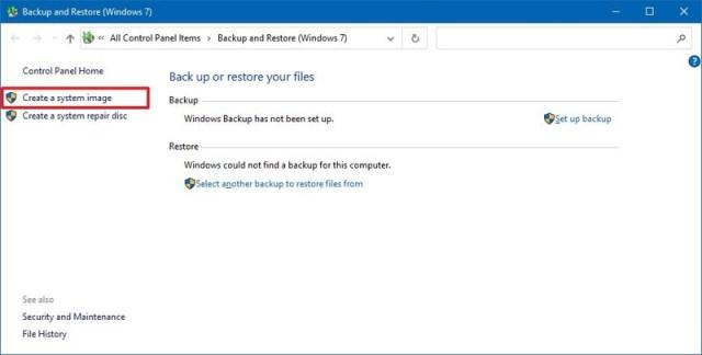 Windows 10 create system image option