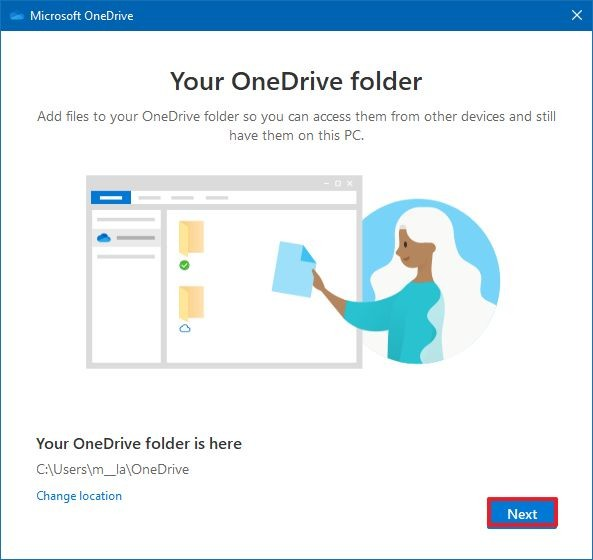Select folder location for OneDrive