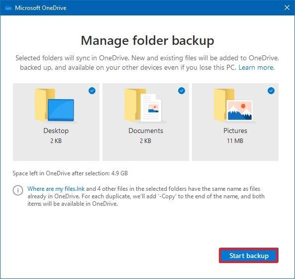 Manage folder backup in OneDrive