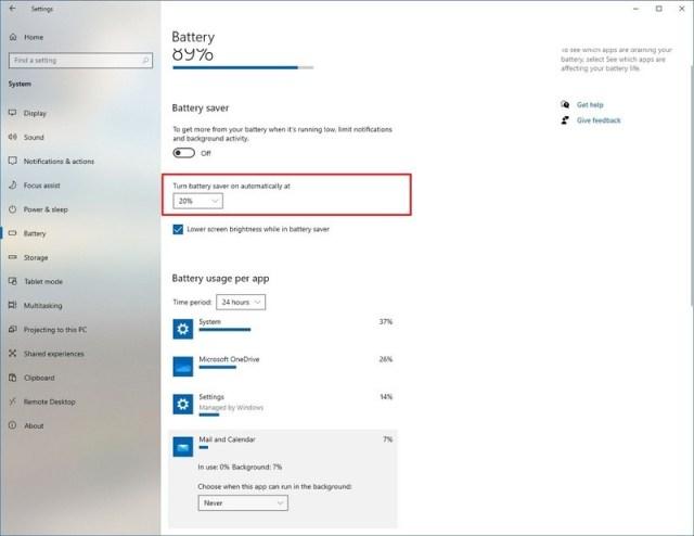 Configure battery saver on school Windows 10 PC