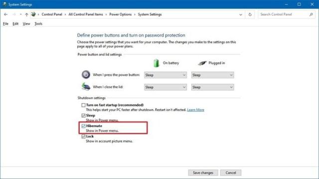 Windows 10 enable hibernation