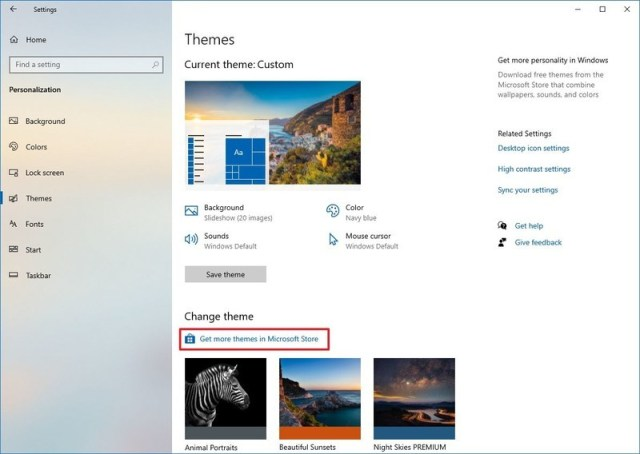Get themes from Microsoft Store option