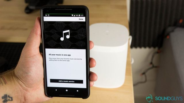 Pictured is the Sonos app on Android