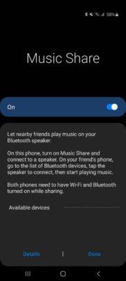 Samsung Galaxy A71 One UI 2.1 Update Music Share