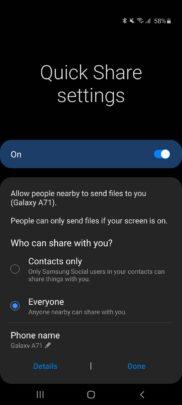 Samsung Galaxy A71 One UI 2.1 Update Quick Share