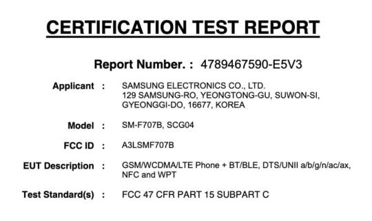Samsung Galaxy Z Flip 5G Model Number FCC Label