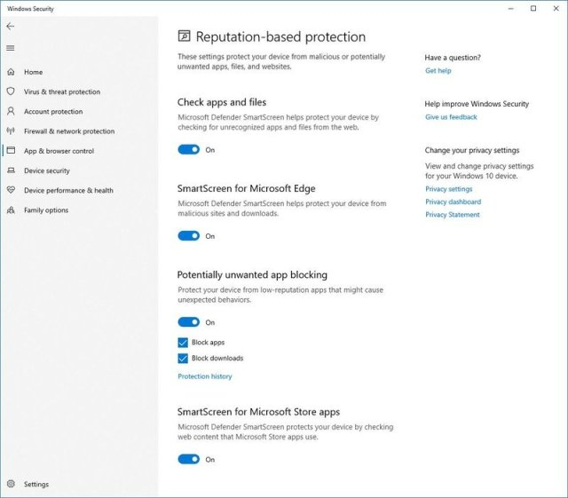 Windows Security reputation-based protection