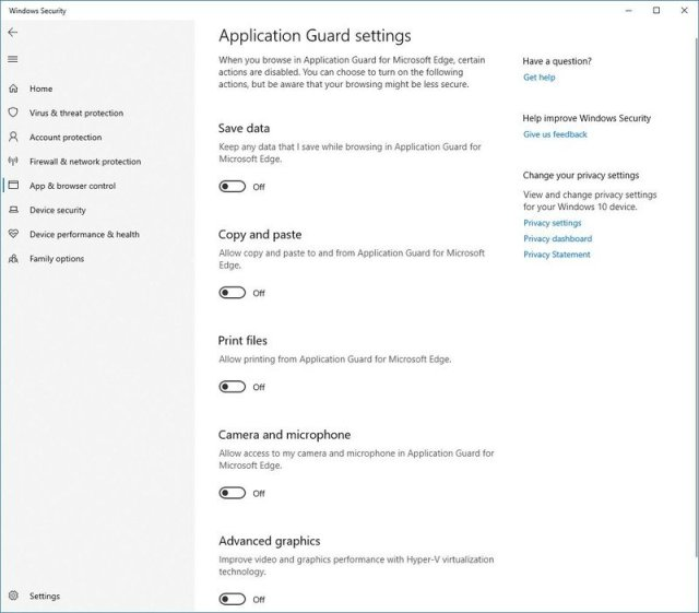 Application Guard Settings on Windows Security