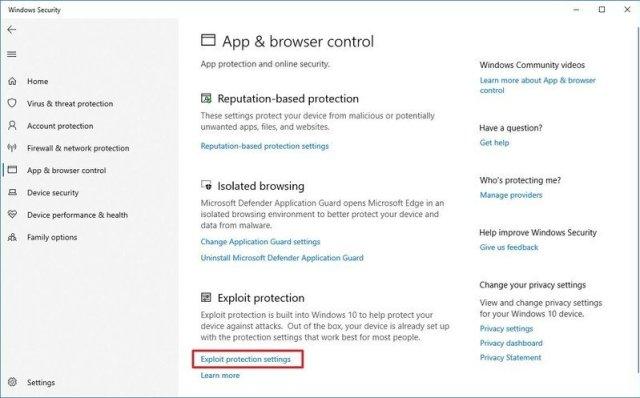 Exploit protection settings option