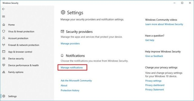 Windows Security Manage Notifications