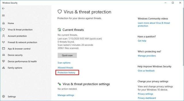 Microsoft Defender Antivirus Protection History