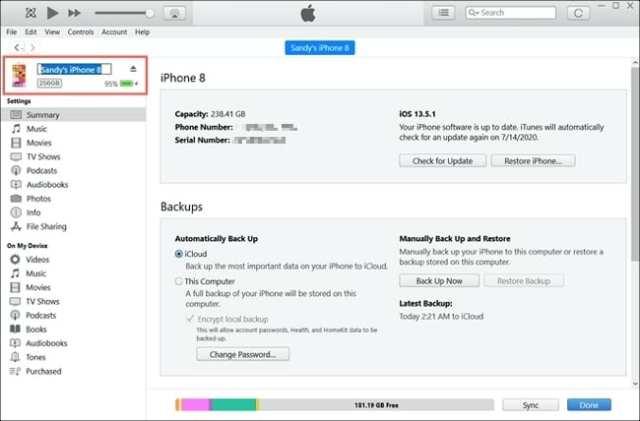 iTunes Change iPhone Name-Windows
