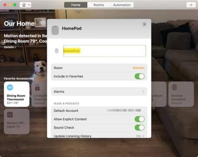 HomePod Change Name-Mac