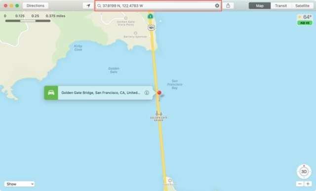 Maps Search GPS Coordinates-Mac
