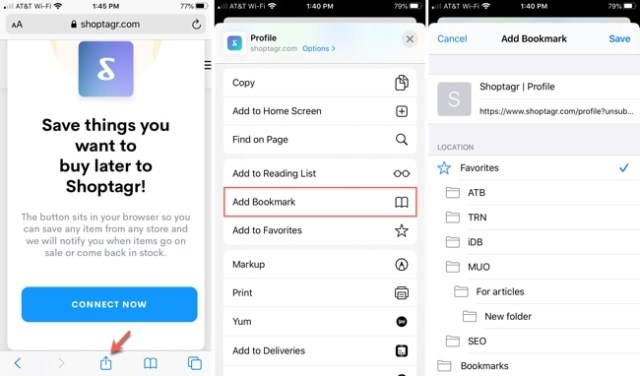 Add a bookmark Safari iPhone