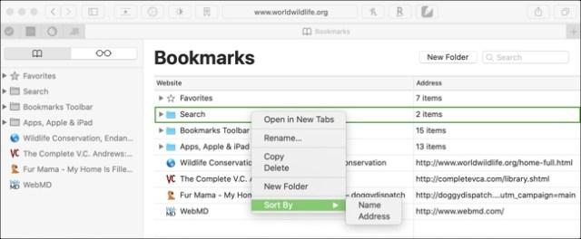 Sort bookmarks Safari Mac