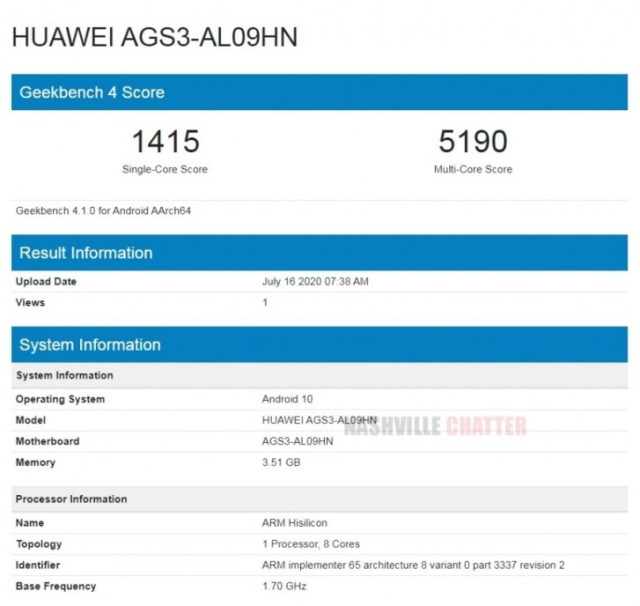Huawei MatePad T10/T10s stops by Geekbench