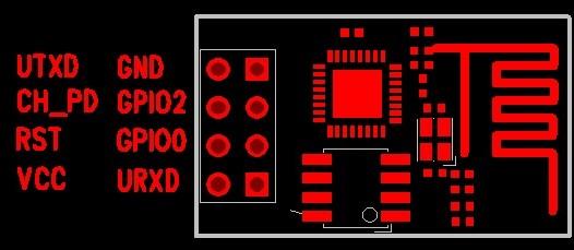 Top view of the ESP8266 NodeMCU ESP-01