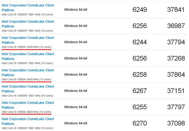 Geekbench - Core i9-10850K