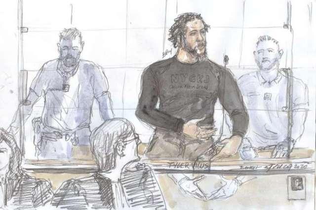 Dessin représentant Tyler Vilus, au tribunal de Paris, le 25 juin 2020.