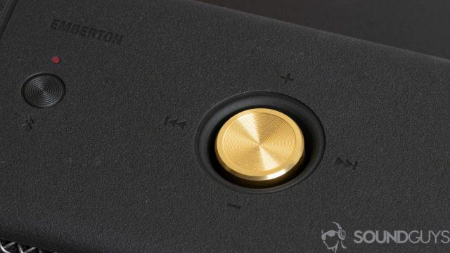 Close-up shot of the golden knob on the Marshall Emberton Bluetooth speaker
