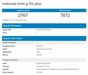 Moto G 5G Plus at Geekbench