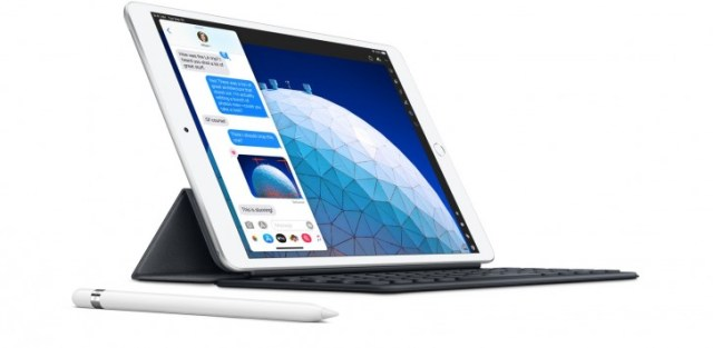 The current iPad Air (2019) with a folio-style keyboard