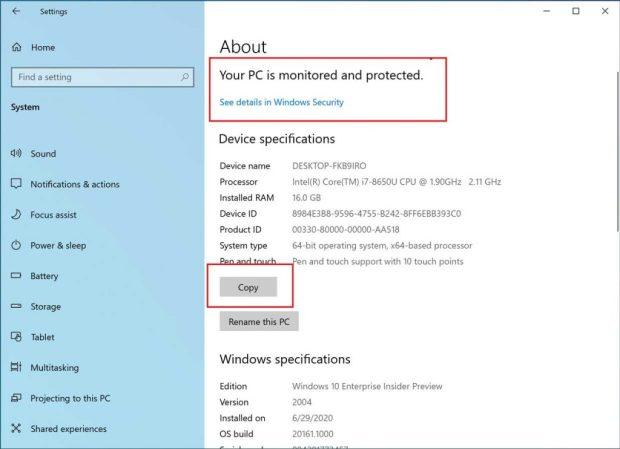 Windows 10 build 20261, « A propos de » dans Paramètres