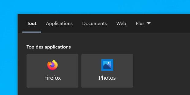Windows 10 et les coins arrondis – Vignettes présente dans le module de recherche de la barre des tâches