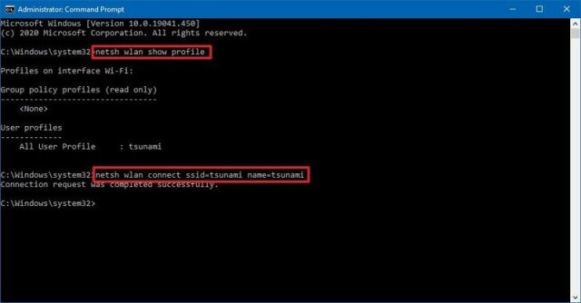 netsh connect to Wi-Fi network command