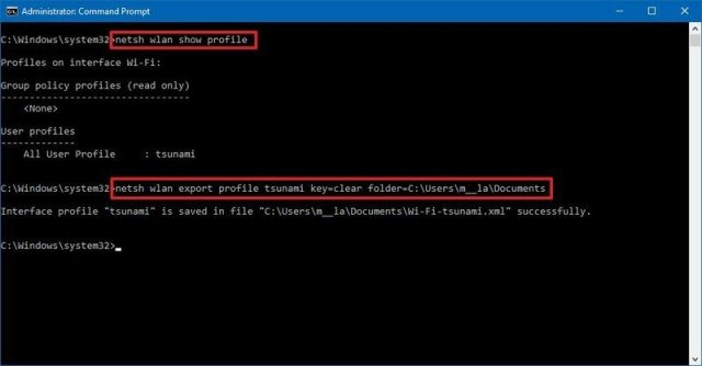 Command Prompt export wireless network profile
