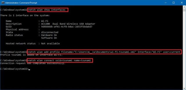 Command Prompt import wireless network profile