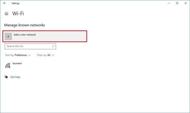 Settings add new wireless network option