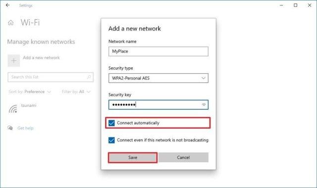 Creating new Wi-Fi profile on Settings