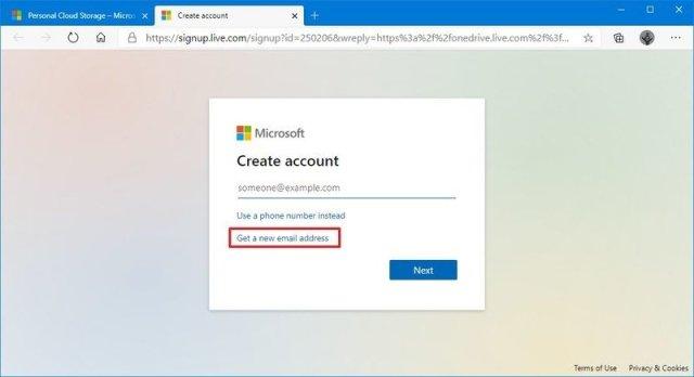 Create new Microsoft account for OneDrive