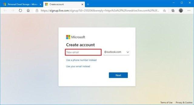 OneDrive choose new email address