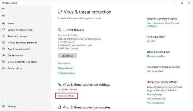 Microsoft Defender Antivirus manage settings option