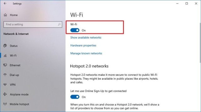 Windows 10 disable Wi-Fi