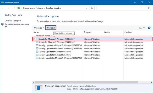 Windows 10 uninstall update option