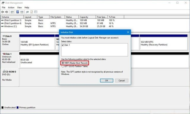 MBR and GPT initialization options