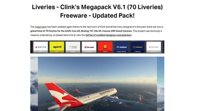 Download the Clink's Liveries Megapack from MSFSaddons.org