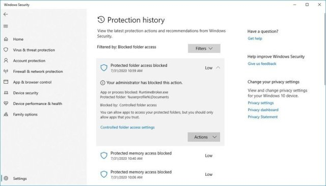 Controlled folder access block history