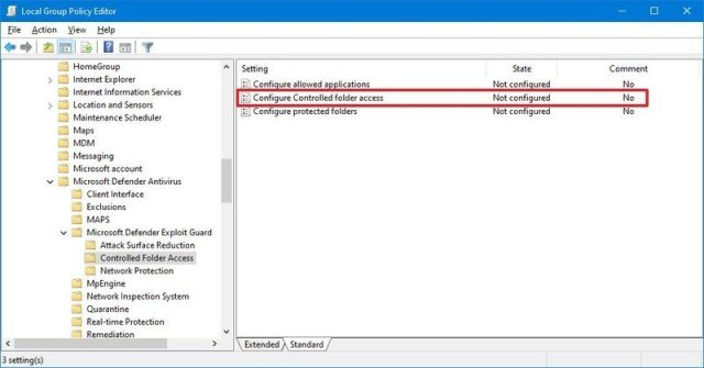 Configure Controlled folder access policy