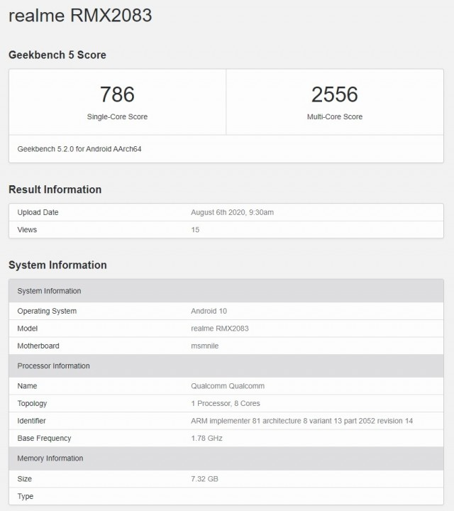 Alleged Realme X3 Pro on Geekbench