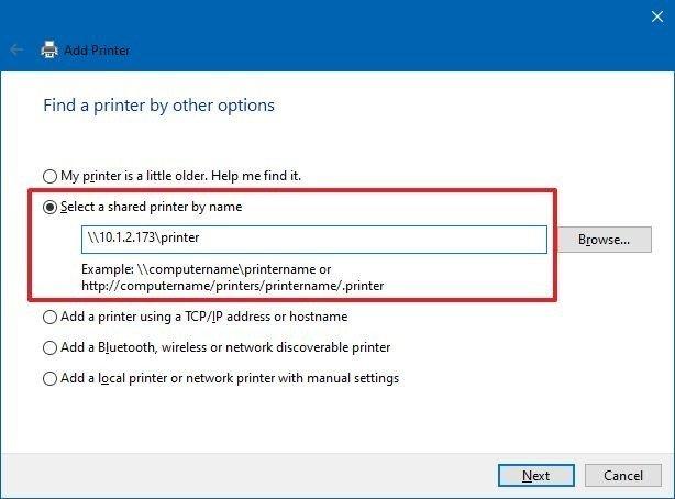 Configure shared printer using IP address