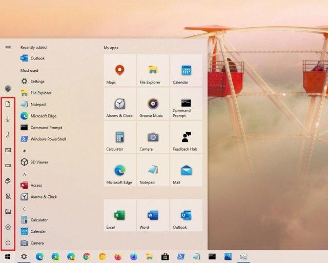 Start menu folders access