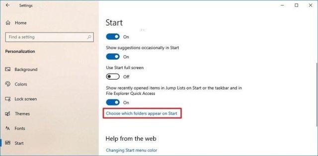 Choose which folders appear on Start option